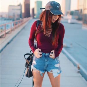 Tops - Lace up burgundy top